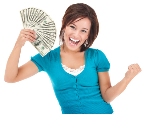 Happy woman holding money after selling her car to Houston Auto Auction